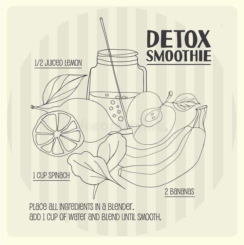 Detox smoothie recept royalty-vrije illustratie