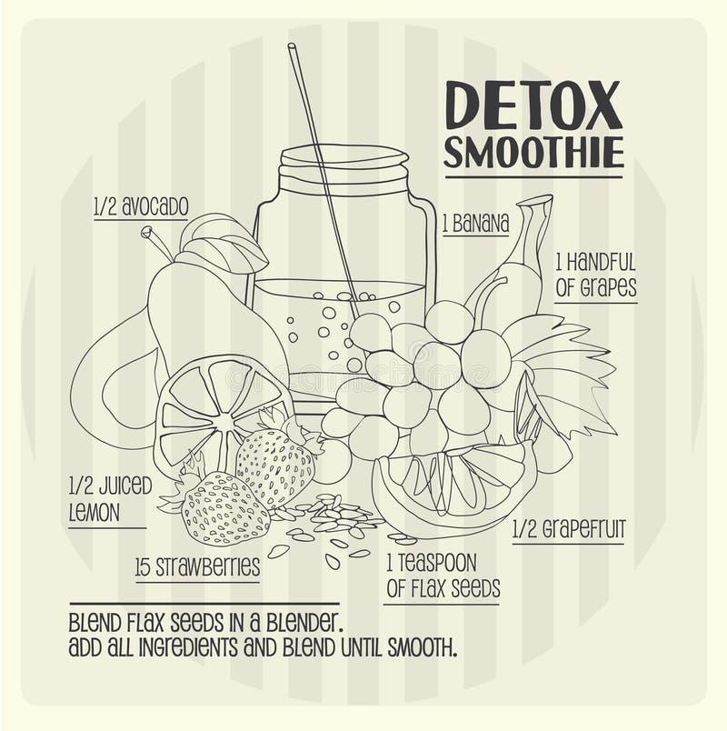 Detox smoothie recept stock illustratie