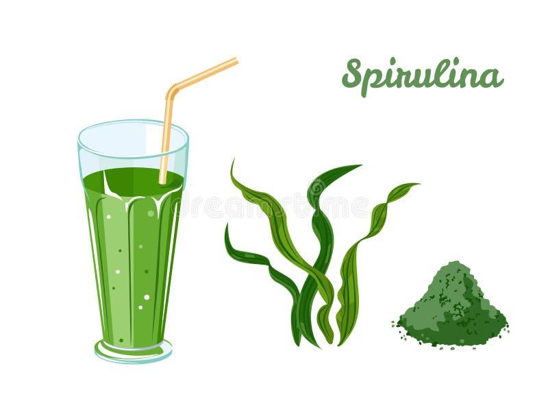 Detox Spirulina Smoothies in glas Zeewier en spirulinapoeder vector illustratie