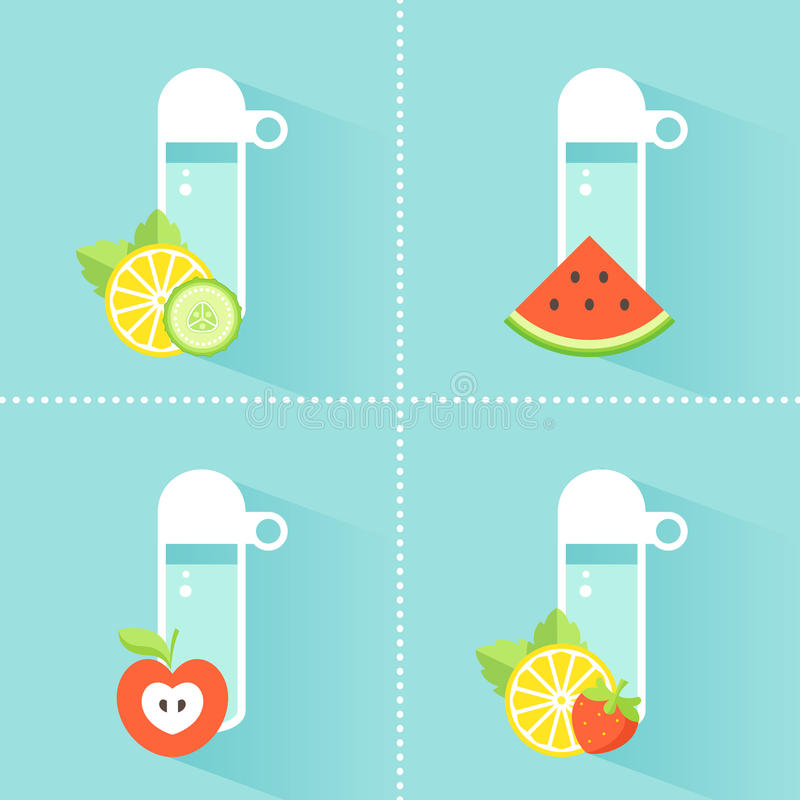 Detox Water Bottle with Fruit and Vegetables. Detox Water Bottles with Slices of Lemon, Cucumbers, Apple, Strawberry and Watermelon. Healthy Diet and stock illustration
