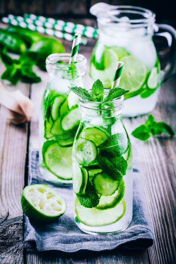 Download Detox Water With Cucumber, Lime And Mint Stock Photo - Image of background, diet: 99147736