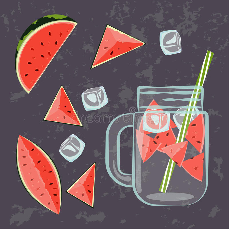 Detox water menu. Vector illustration of Detox water with Fruits, vegetables or berries. for diet menu, cafe and restaurant menu. Fresh smoothies, fruit cocktail royalty free illustration