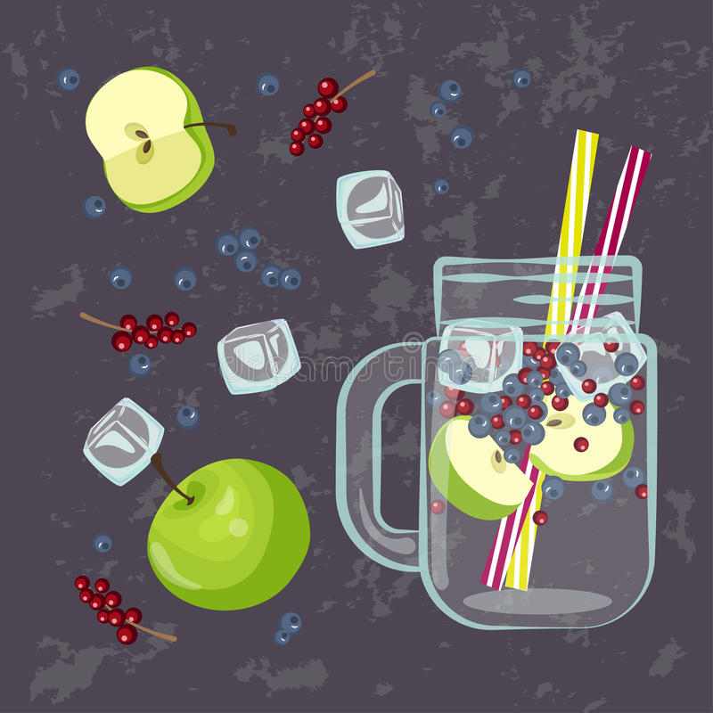 Detox water menu. Vector illustration of Detox water with Fruits, vegetables or berries. for diet menu, cafe and restaurant menu. Fresh smoothies, fruit cocktail vector illustration
