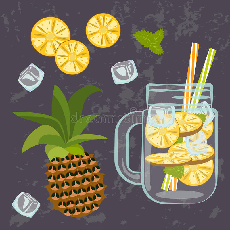 Detox water menu. Vector illustration of Detox water with Fruits, vegetables or berries. Isolated for diet menu, cafe and restaurant menu. Fresh smoothies, fruit vector illustration
