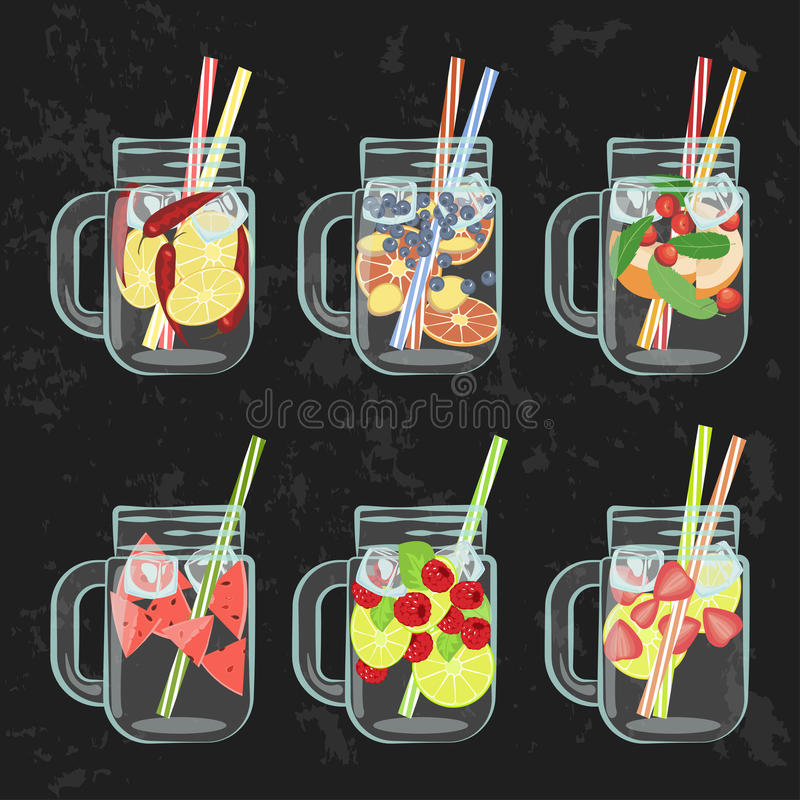 Detox water menu. Vector illustration of Detox water with Fruits, vegetables or berries. Isolated for diet menu, cafe and restaurant menu. Fresh smoothies, fruit stock illustration