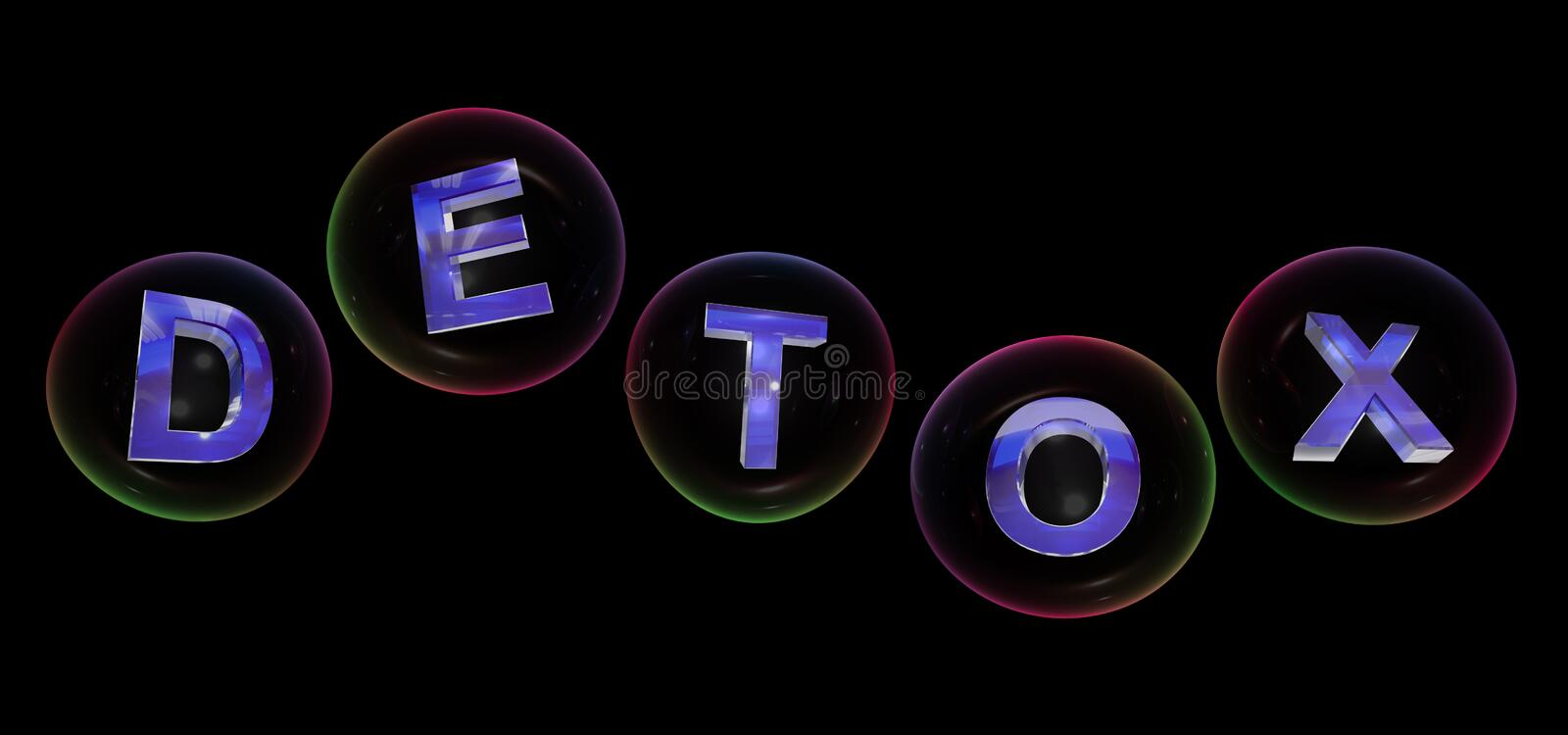 The detox word in bubble. The detox word in soap bubble on black background,3d rendered stock illustration