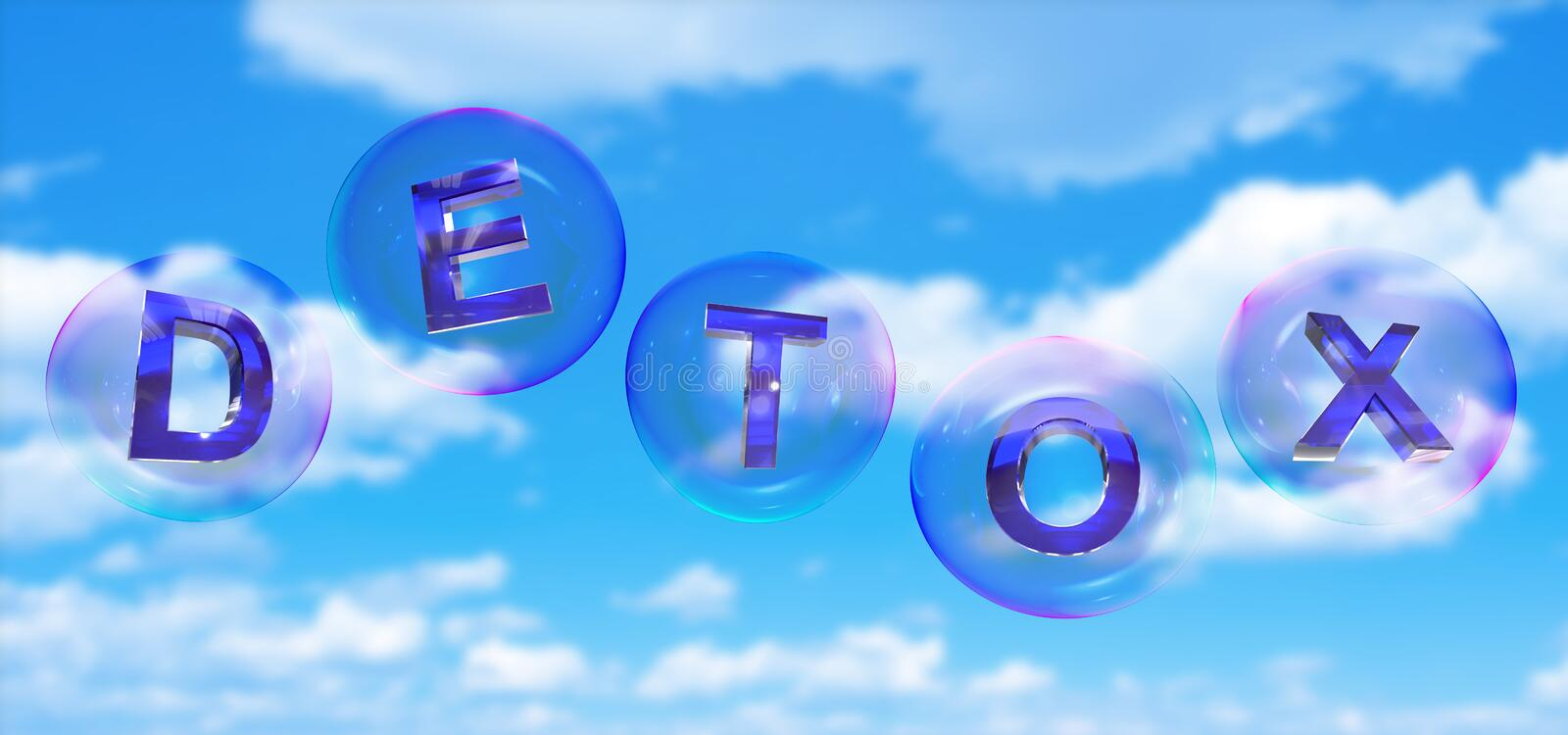 The detox word in bubble. The detox word in soap bubble on blue sky background,3d rendered stock illustration