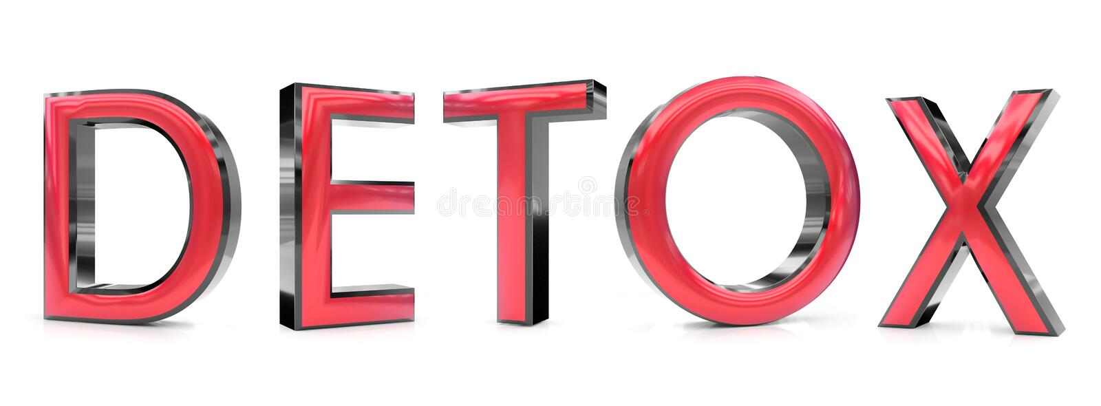 Detox word. The detox word 3d rendered red and gray metallic color , isolated on white background stock illustration