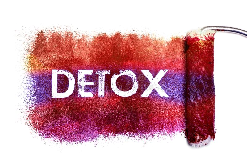 The detox word painting. Color full on white paper by roll painter,isolated stock illustration