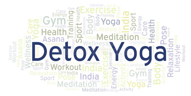 Detox Yoga word cloud. Wordcloud made with text only vector illustration