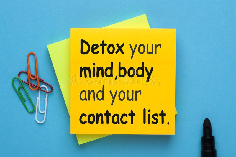 Detox Your Life. Detox your mind, body and your contact list stock photos