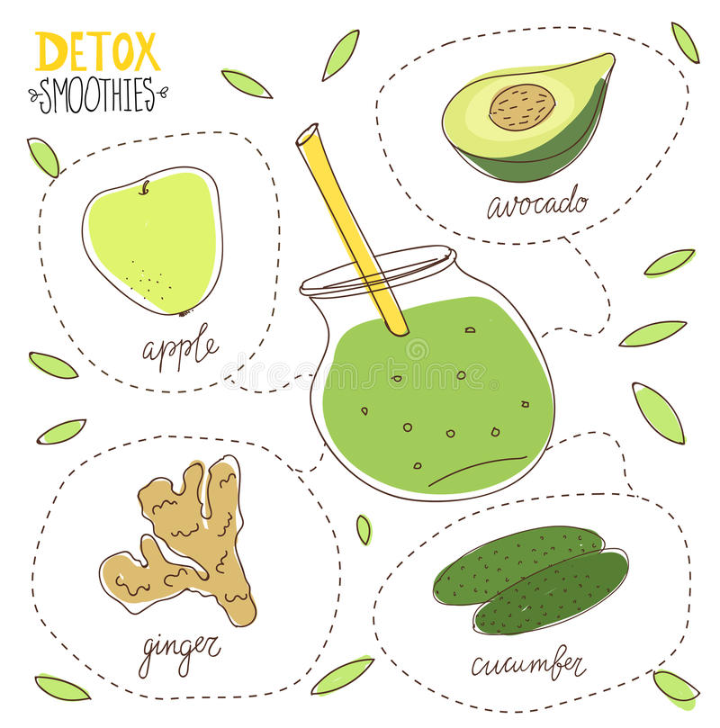 Detoxdieet Smoothie royalty-vrije illustratie