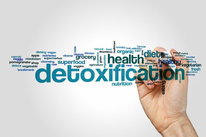 Detoxification słowa chmury pojęcie na popielatym tle obraz royalty free