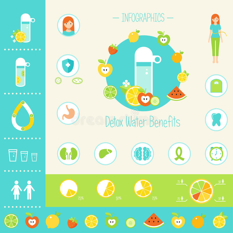 Detoxification Water Benefits for Health Infographics Elements. vector illustration