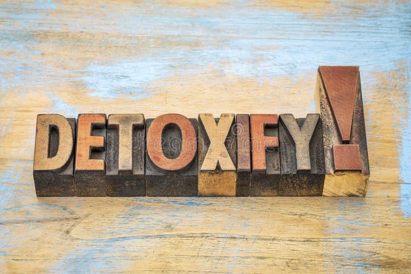 Detoxify okrzyka w drewnianym typ obrazy royalty free