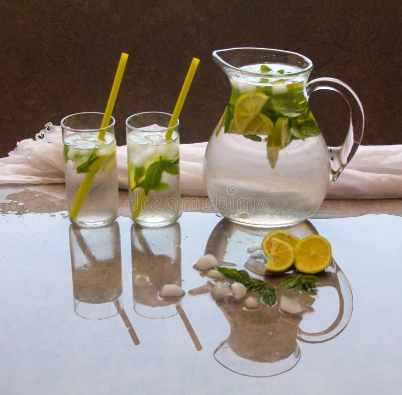 Detoxvatten i en kanna som smaksättas med citronmintkaramellen och is och två exponeringsglas, reflekterar på en grå lantlig bakg royaltyfri fotografi