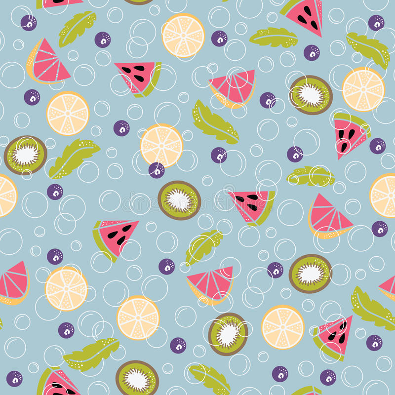 Detoxwater van vers fruit naadloos patroon royalty-vrije illustratie