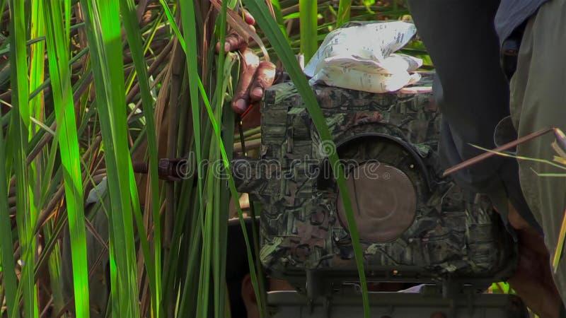 Detrás de la escena Cámara de la película en la ubicación al aire libre para el documental imágenes de archivo libres de regalías
