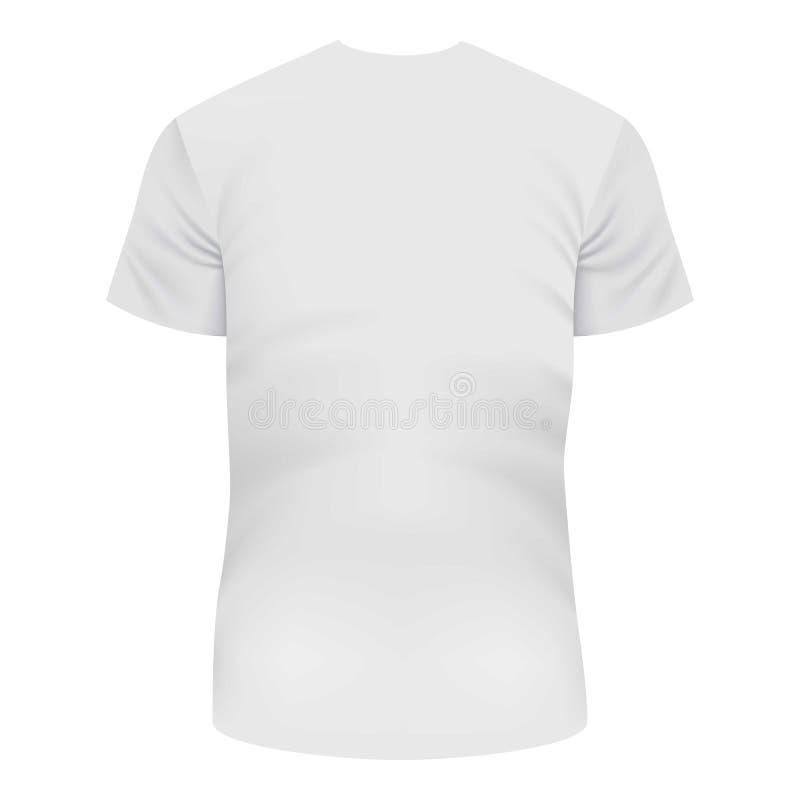 Detrás de la maqueta blanca de la camiseta, estilo realista ilustración del vector