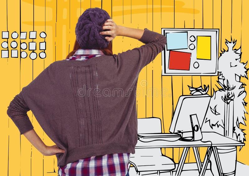 Detrás de la mujer milenaria contra oficina dibujada mano amarilla stock de ilustración