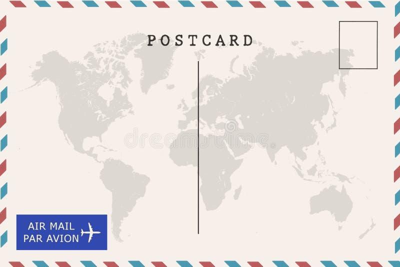 Detrás de la postal del espacio en blanco del correo aéreo ilustración del vector