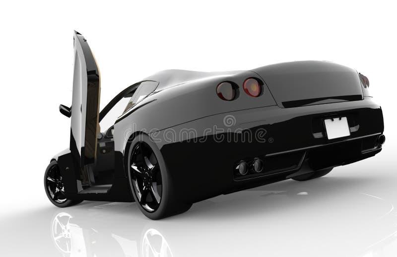 Detrás de un coche deportivo negro genérico stock de ilustración