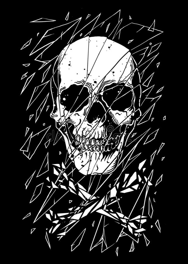 Detrás del diseño de cristal quebrado Art Illustration stock de ilustración