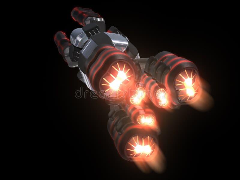 Detrás del vehículo espacial negro y rojo ilustración del vector