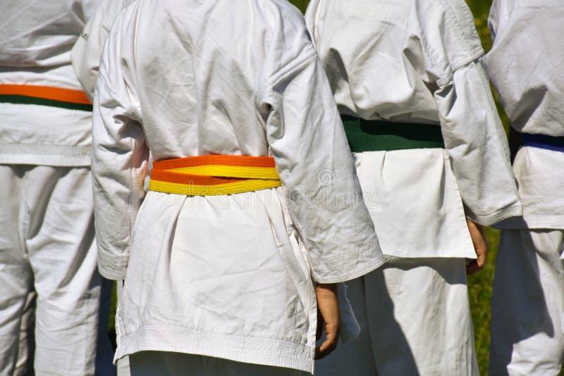 detrás vista de un grupo de cuatro ejercicios practicantes de los niños del karate en la hierba Los niños llevan el uniforme típi fotografía de archivo