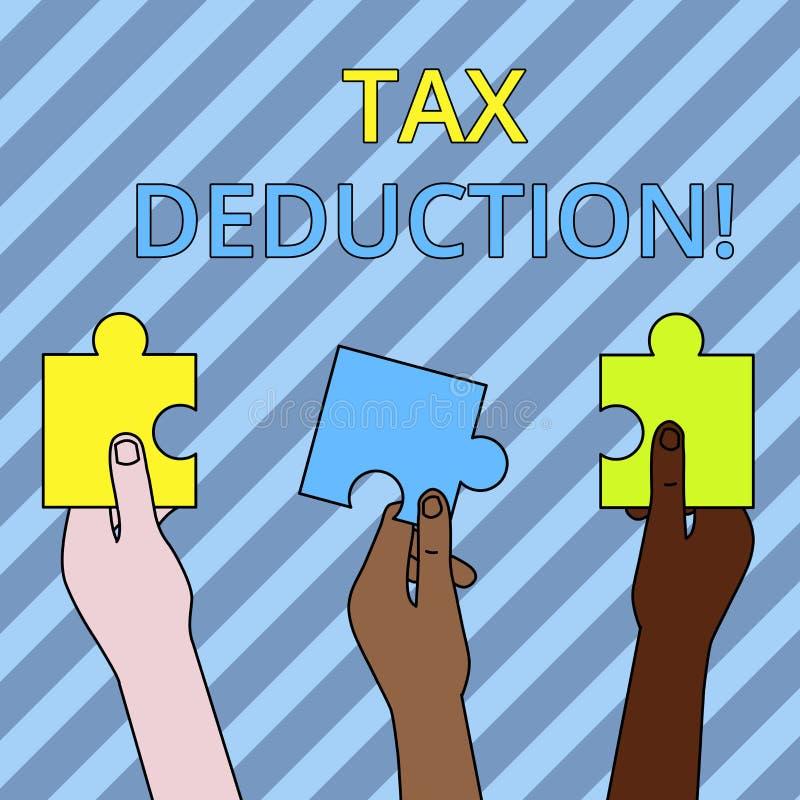 Detrazione delle imposte di rappresentazione del segno del testo L'importo concettuale della foto sottratto da reddito prima dell illustrazione di stock