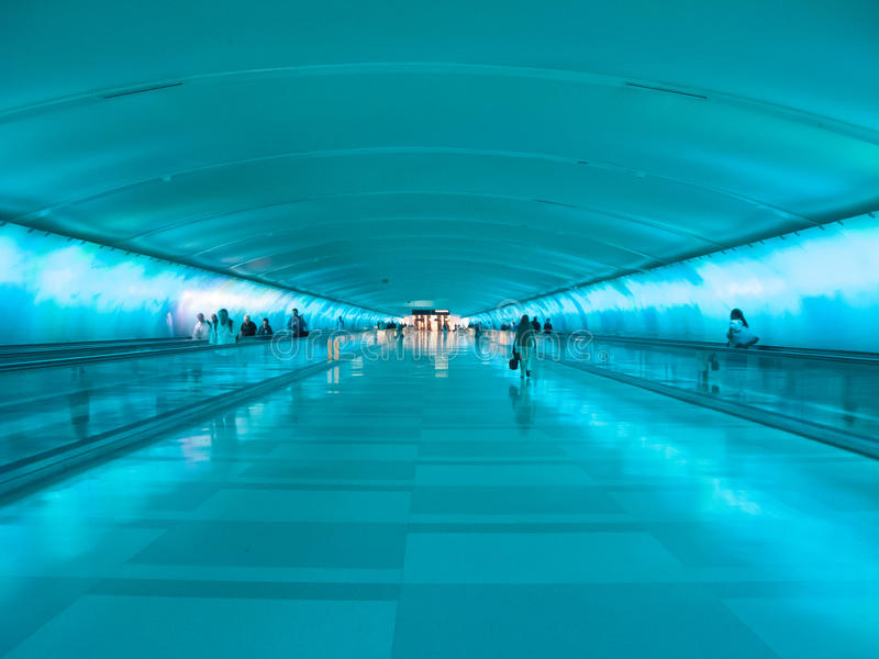 Detroit Airport Walkway - Blue royalty free stock image