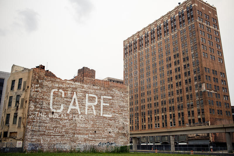 Detroit céntrica fotografía de archivo libre de regalías