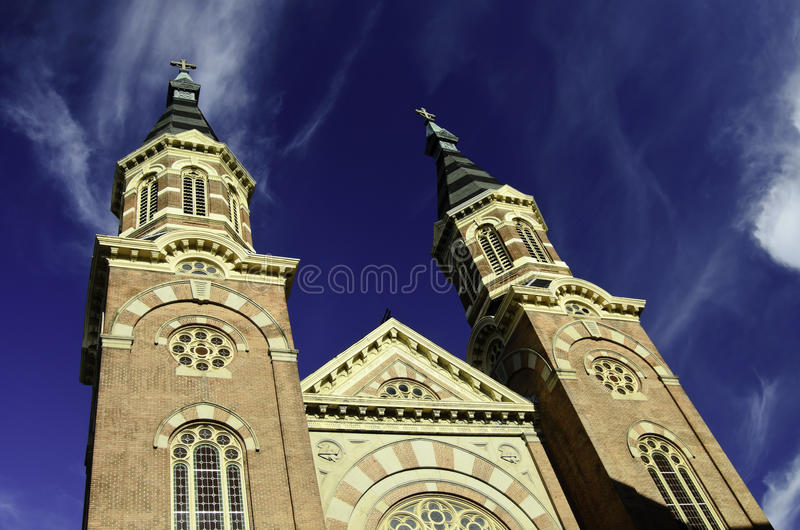 Detroit Cathedral. A view of a beautiful cathedral in Detroit city royalty free stock image