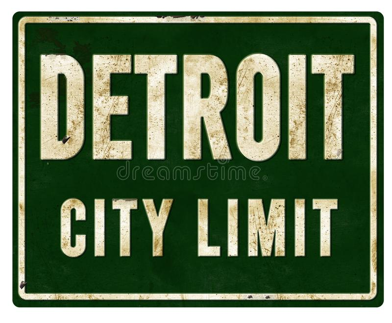 Detroit City Limit Sign Metal. Detroit City Limit Sign in Metal Old Highway Street Motor Motown Limits Michigan Grunge Distressed Old Retro Vintage royalty free stock images