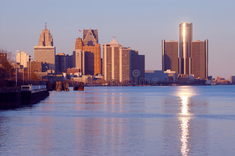 Detroit city skyline royalty free stock image