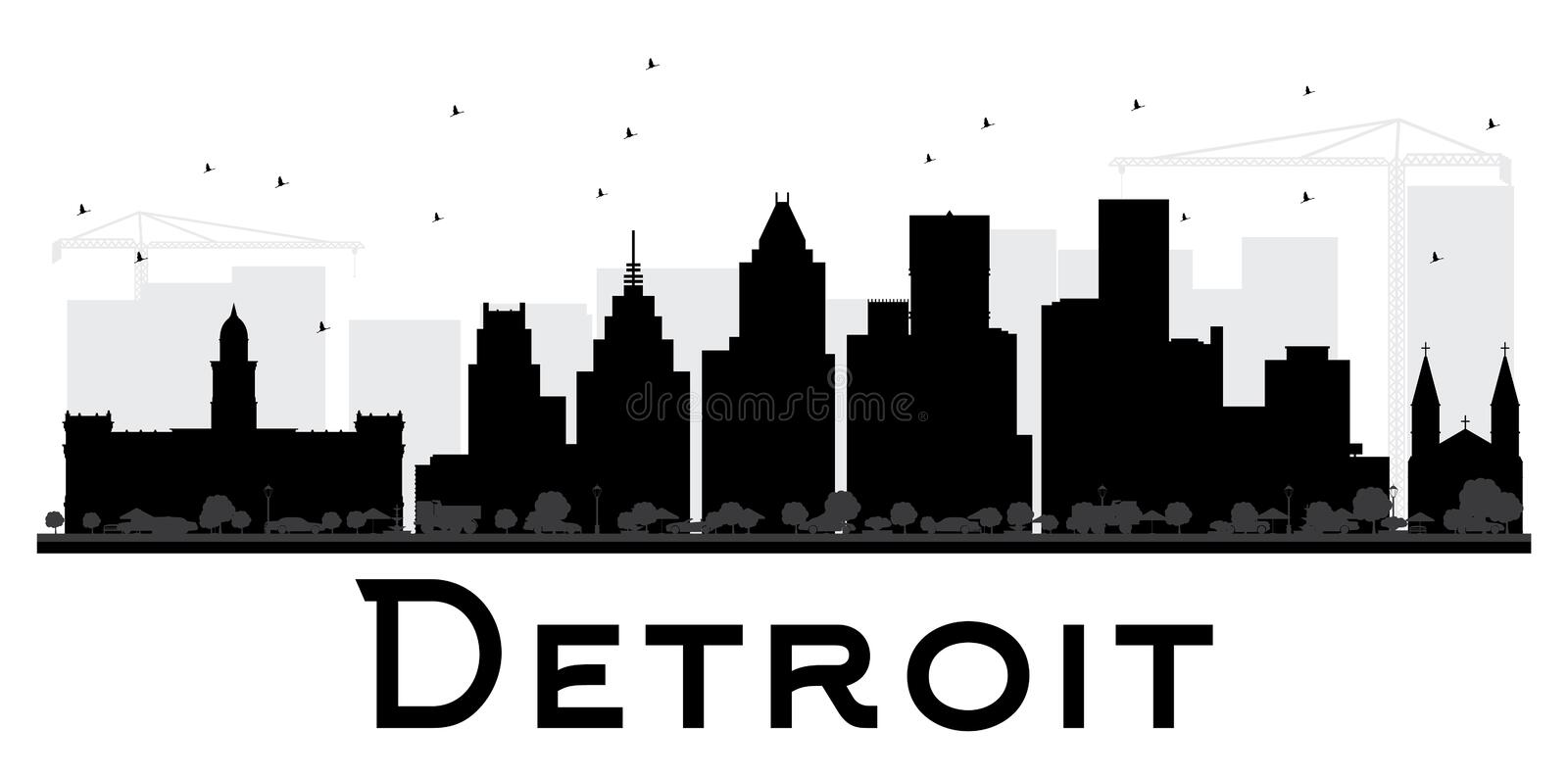 detroit city skyline black and white silhouette stock vector rh dreamstime com detroit city skyline vector detroit skyline outline vector