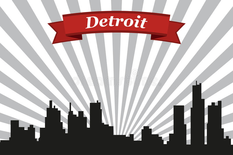 Detroit city skyline with rays background and ribbon vector illustration