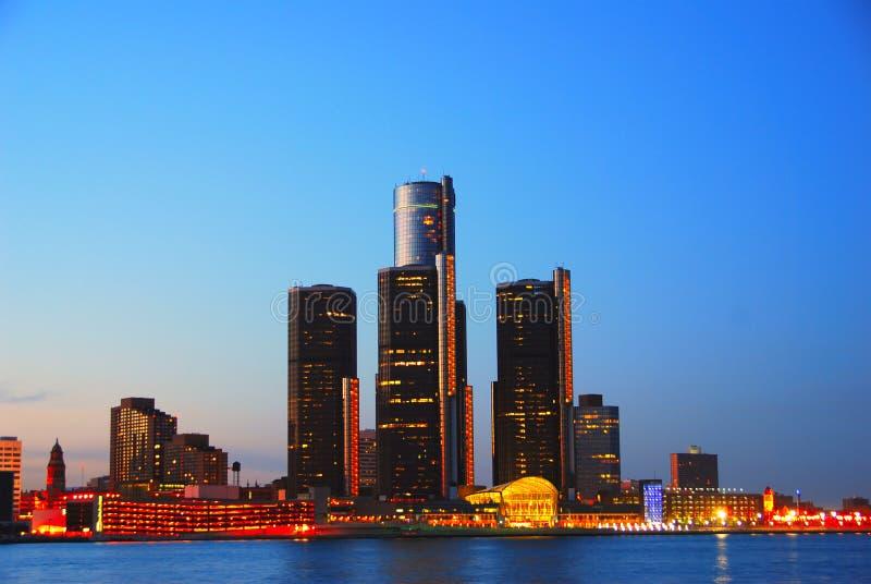 Detroit en la noche fotografía de archivo