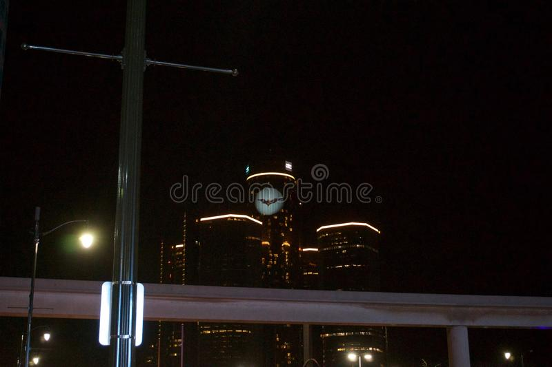 Detroit GM Renaissance Center. A picture of the Batman symbol on the Detroit GM Renaissance Center in the winer months stock photography