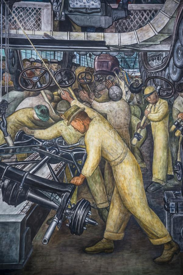 The Detroit Industry Murals, a series of frescoes by the Mexican artist Diego Rivera royalty free stock photos