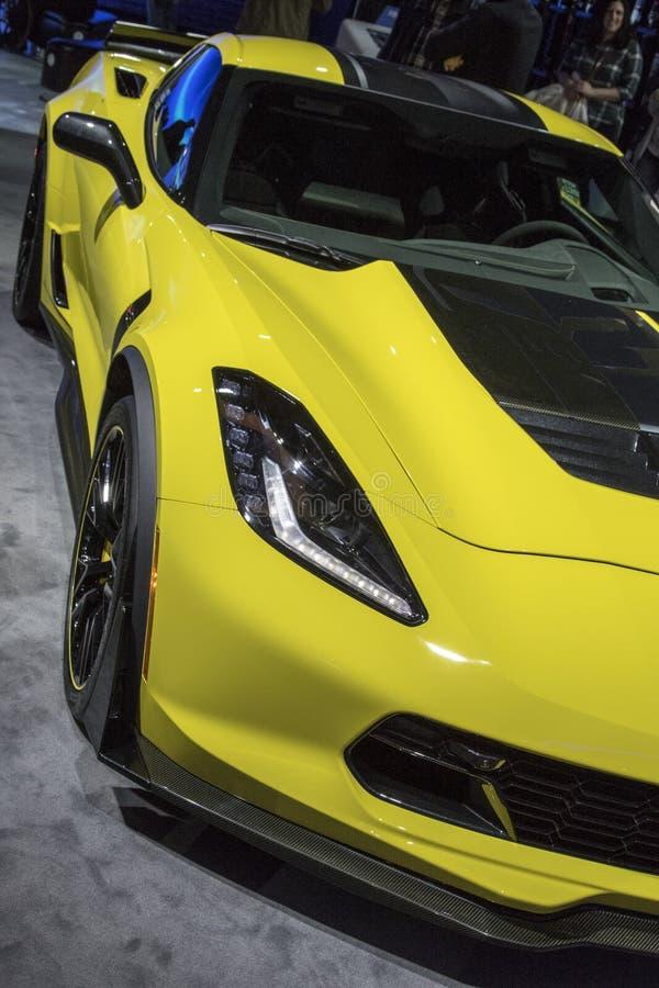 DETROIT - JANUARI 17: Chevroletet Corvette 2017 på norden A royaltyfri bild