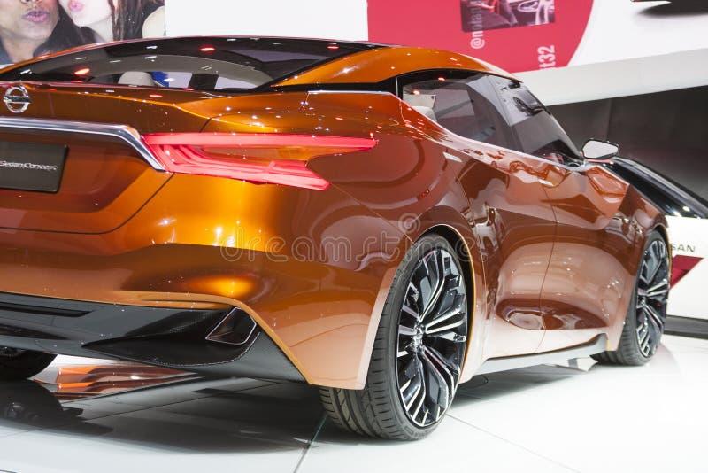 DETROIT - JANUARI 26: Het Nissan Sport Sedan-concept in Nort royalty-vrije stock afbeeldingen
