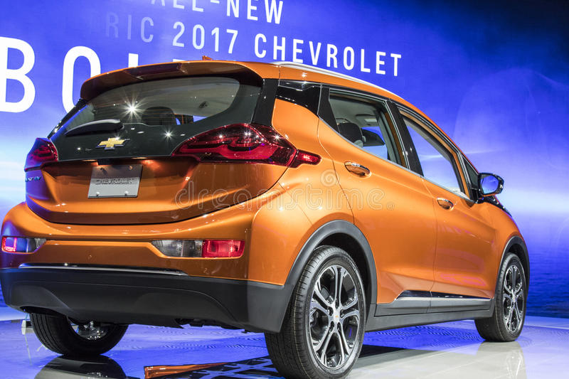 DETROIT - JANUARY 17 :The 2017 Chevrolet Bolt EV at The North Am royalty free stock photo