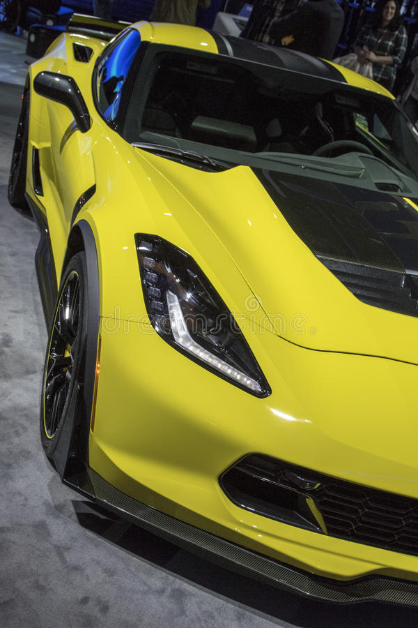 DETROIT - JANUARY 17 :The 2017 Chevrolet Corvette at The North A royalty free stock image