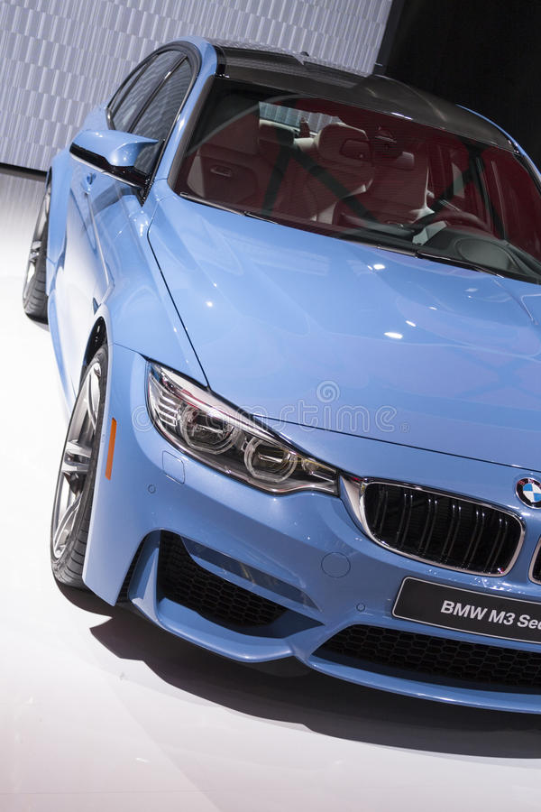 DETROIT - JANUARY 26 :The new 2015 BMW M3 Sedan at The North American International Auto Show January 26, 2014 in stock image