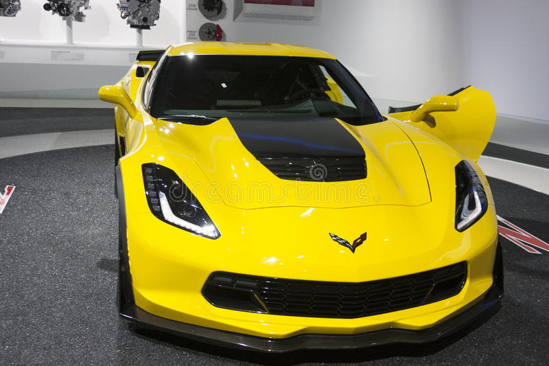 DETROIT - JANUARY 26 :The new 2015 Corvette Stingray Z06 supercar at The North American International Auto Show January stock images