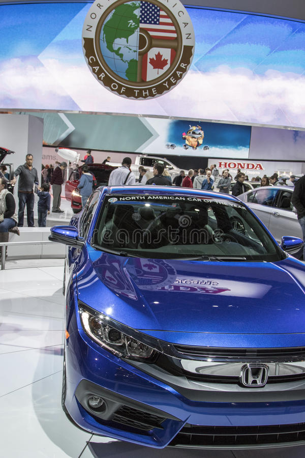 DETROIT - JANUARY 17 :The 2016 North american car of the year 2017 Honda Civic at The North American International Auto Show stock photos