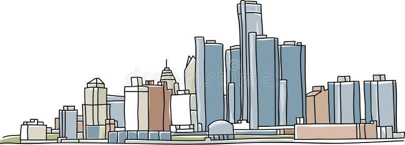 Detroit linia horyzontu ilustracji