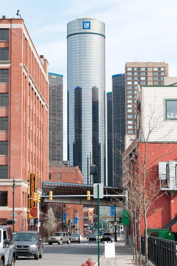 DETROIT, MI - 8 DE MAIO: O mundo de General Motors sedia onde a maioria de operações do GM é baseada em Detroit do centro foto de stock