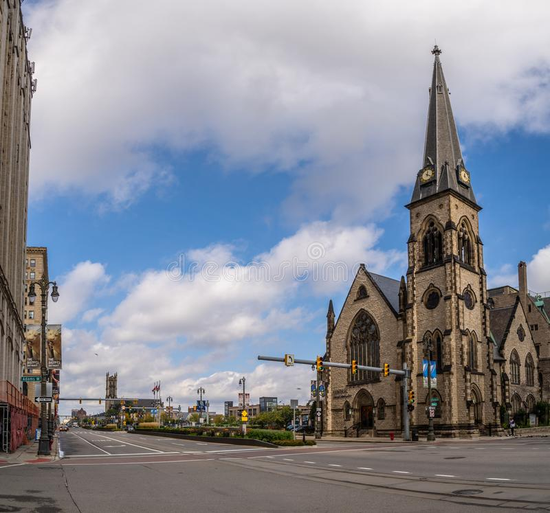 Detroit, MI - Oct 6 2019: Historic gothic church on woodward avenue in downtown Detroit. Detroit, MI - Oct 6 2019: Historic gothic church on woodward avenue royalty free stock photography